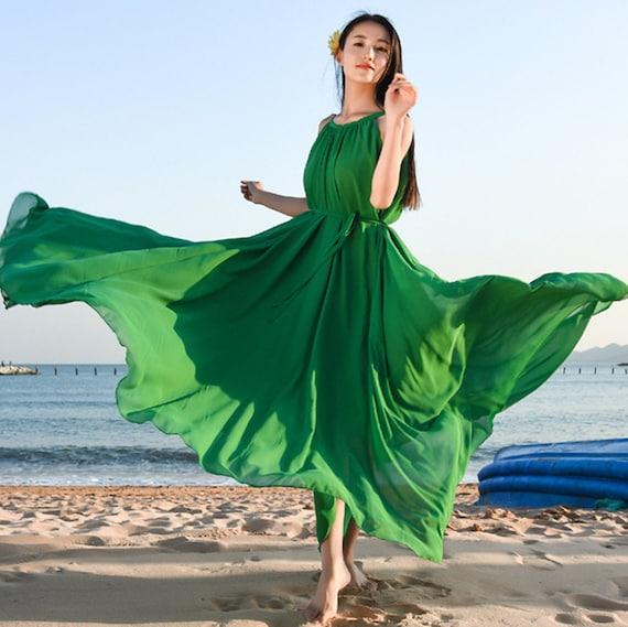 Frauen chiffon-Kleid ärmellos langes Kleid flowy Maxi-Kleid Abendkleid  Partykleid plus Size Kleidung Sommerkleid 92bdc583ca