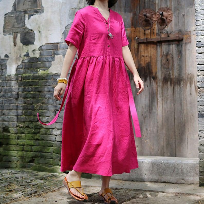 b0b1d8cf1e0 Summer linen dress short sleeve linen tunic dress loose cotton