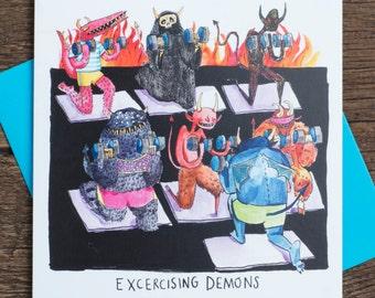 Exercising Demons - Greetings Card-  Humour - Pun - illustration