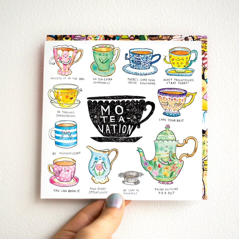 Moteavation * Tea Puns Greeting Card * British Humour and word Play * Funny  Motivational * Silly * Quirky Catherinedoart * Jelly Armchair