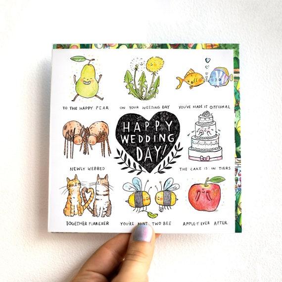 Happy Wedding Day Humour Carte Cadeau De Mariage Drole Pun Joke Catherinedoart Gelee Fauteuil Illustre Britannique