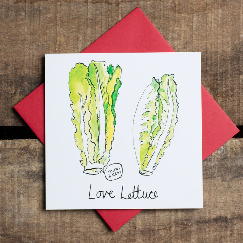 Love Lettuce. Valentines card. Humour Pun Cards. Funny. image 0