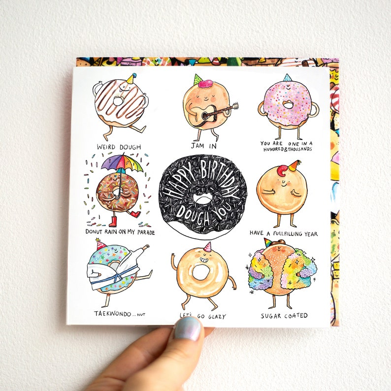 Happy Birthday Dough You Donut Puns Birthday Card Humour Etsy