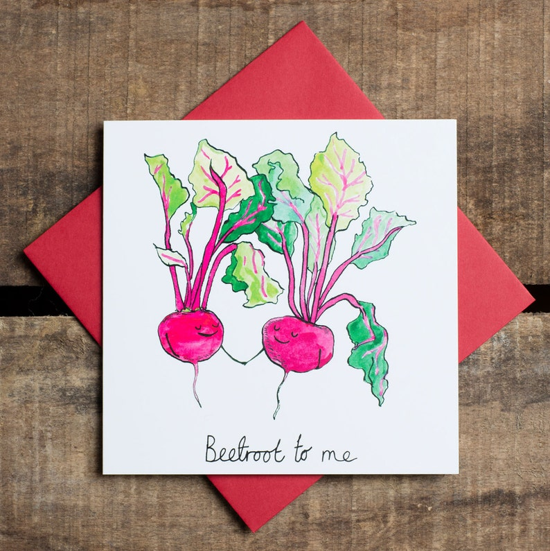 Beetroot to me Pun Valentine's Greetings Card Humour. image 0