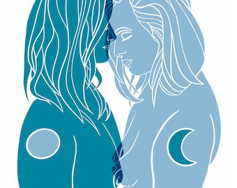 Queer Astrology Couple Art Print, Sapphic Love Art, Luna+Kiran
