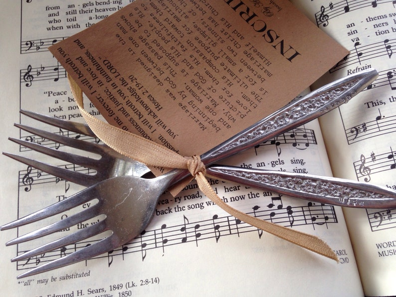 Husband and Wife vintage hand stamped Forks Hosea 2:19-20