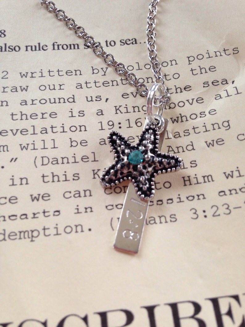 Sea to Sea- Starfish hand stamped Psalm 72:8 Necklace
