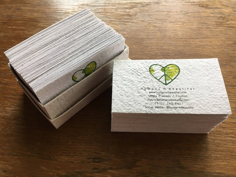 eco friendly business card from handmade recycled paper  etsy
