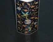 Japanese octagonal posy vase, beautiful rich, decorative design, vintage piece superb special gift