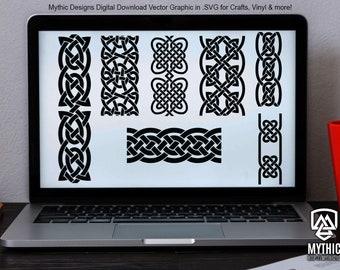 Celtic Knot Patterns - Boarder Repeatable Segments - Vector SVG Download File for Circut , Vinyl & Laser Cutters - DP-STV-Celtic-KnotMix001