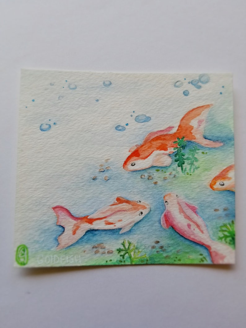 Watercolor One of a Kind Art Pieces Goldfish Botanical