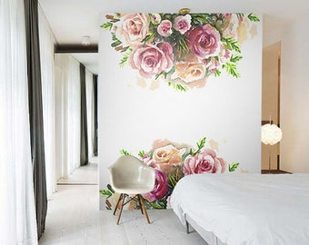 Watercolor rose removable wallpaper, Wall mural,  Peel and stick wall art, Floral wallpaper, Watercolor flowers, Handdrawn #6