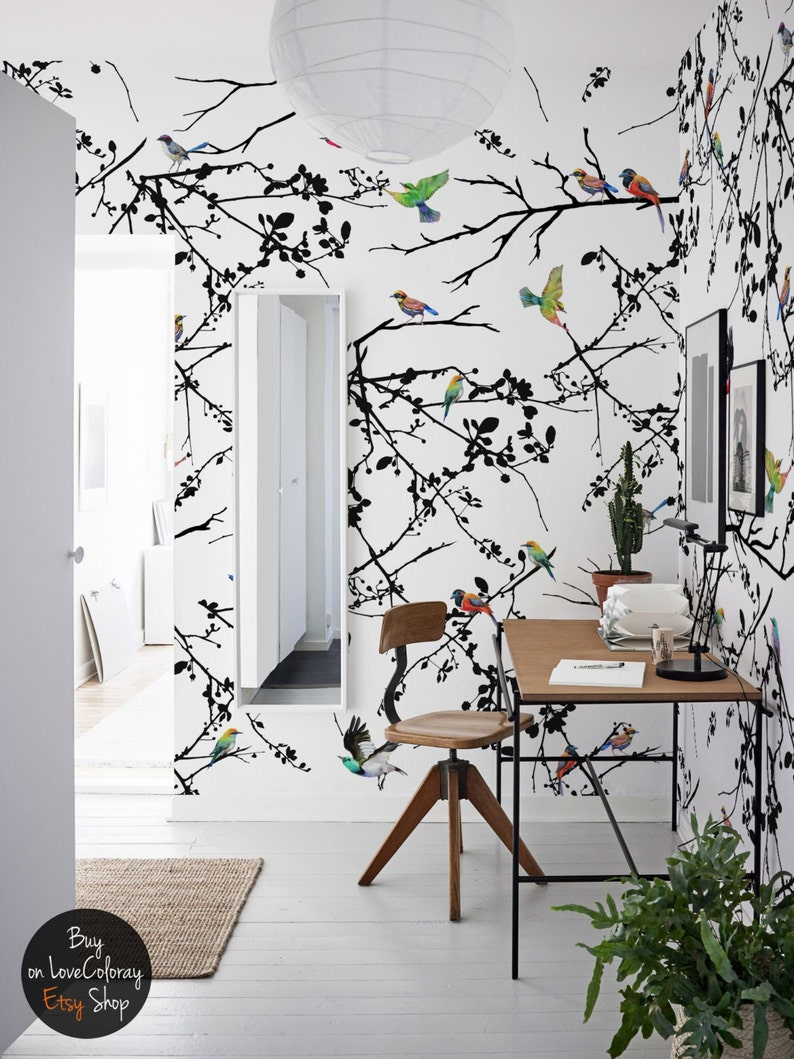 bird wall mural removable wallpaper peel and stick bird etsyimage 0