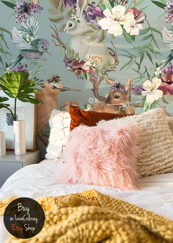 Enchanted Forest Removable Wallpaper Vintage Forest Animals Large Wall Mural Peel And Stick Painted Deer Wall Murals Paintings 63