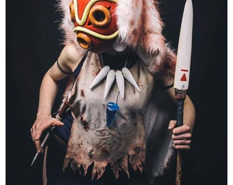 princes mononoke full costume all handmade cosplay very good quality and details halloween blood