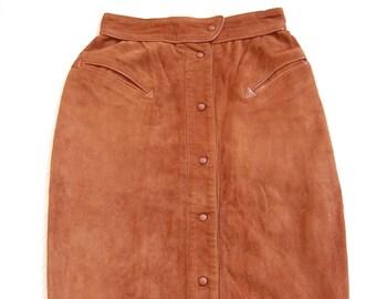 Vintage Thierry Mugler Brown Suede Pencil Skirt sz 36 Rare!