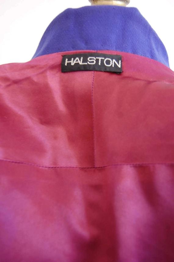 Vintage Halston Blue Raglan Sleeve Wool Coat - image 5