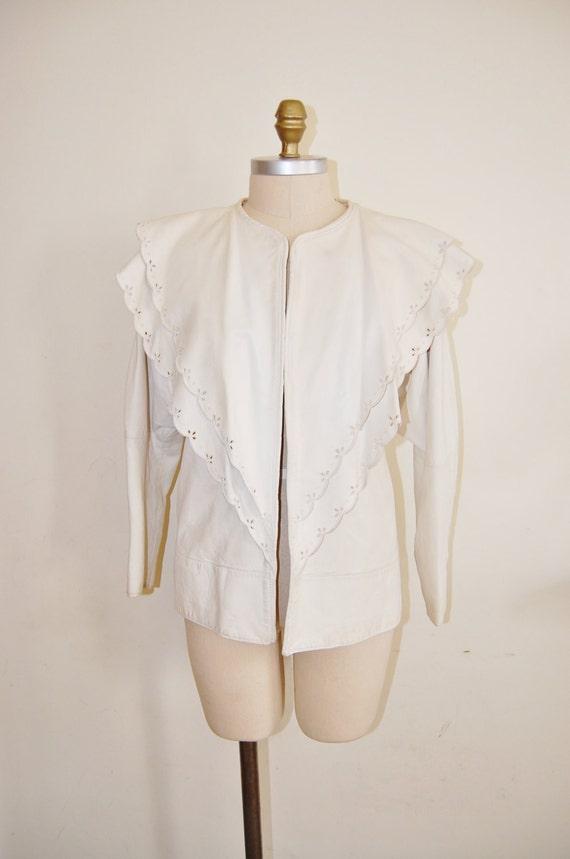 Rare Vintage Gianni Versace White Leather Jacket S