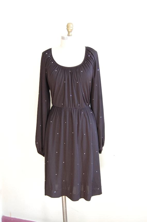 Vintage 70's Donald Brooks Black Peasant Dress Siz