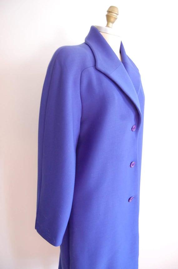 Vintage Halston Blue Raglan Sleeve Wool Coat - image 2