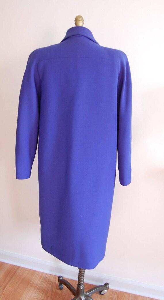 Vintage Halston Blue Raglan Sleeve Wool Coat - image 4