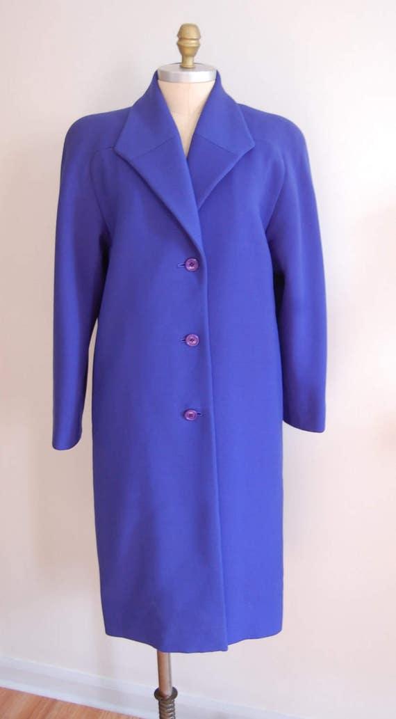 Vintage Halston Blue Raglan Sleeve Wool Coat