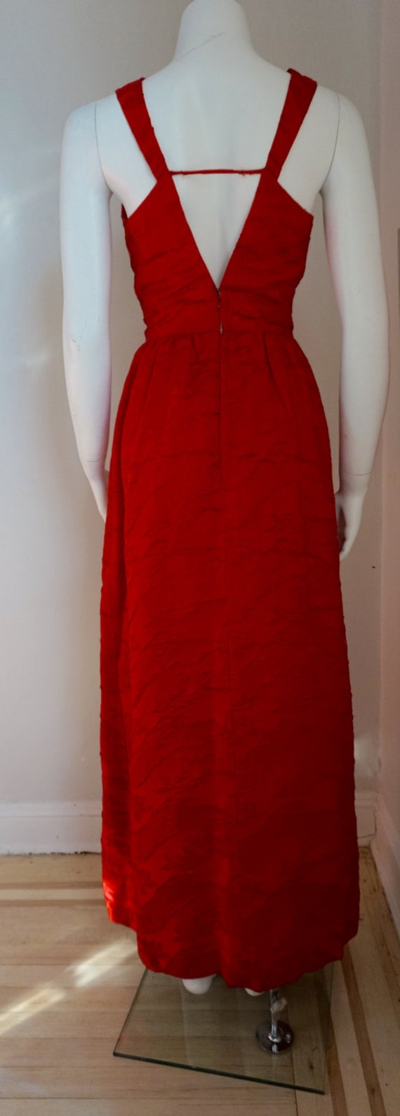Vintage Rappi 1950s Red Cocktail Long Evening Gown
