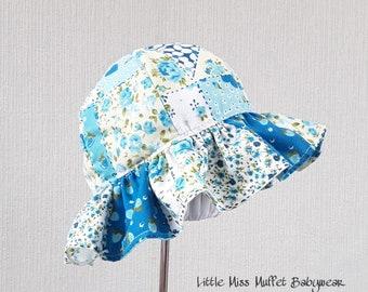 Floppy Hat, Girls Sun Hat, Girls Bonnet, 3-6m, Blue Summer Hat, Beach Hat, Sun Hat, Girls Summer Bonnet, Childrens Sun Hat, Girls Hat