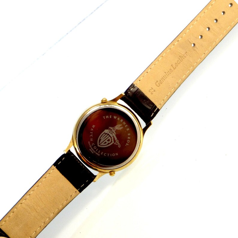 Taz And Bugs Bunny Warner Bros Home And Away Dual Time Leather Band Fossil  Made Watch Super Hard To Find