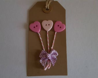 Pink button heart gift tag with bow