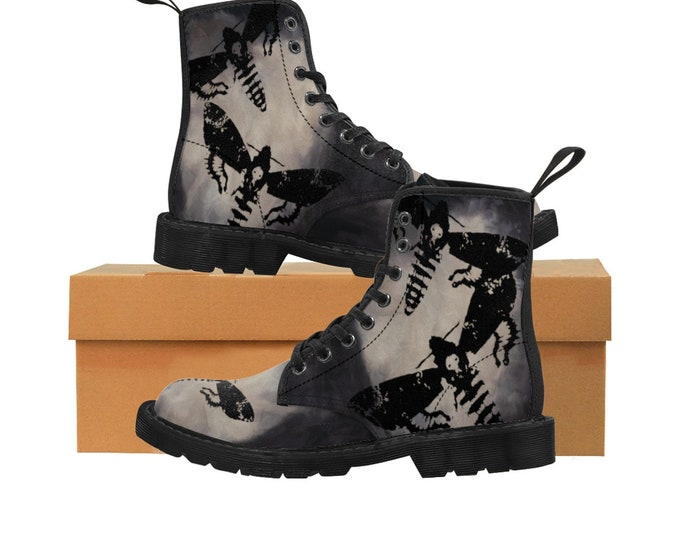 Featured listing image: Death's Head Moth- Men's Canvas Boots