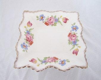 Vintage James Kent dish - square fluted ruffled edge ring trinket bowl porcelain white flowers pink blue yellow green gold