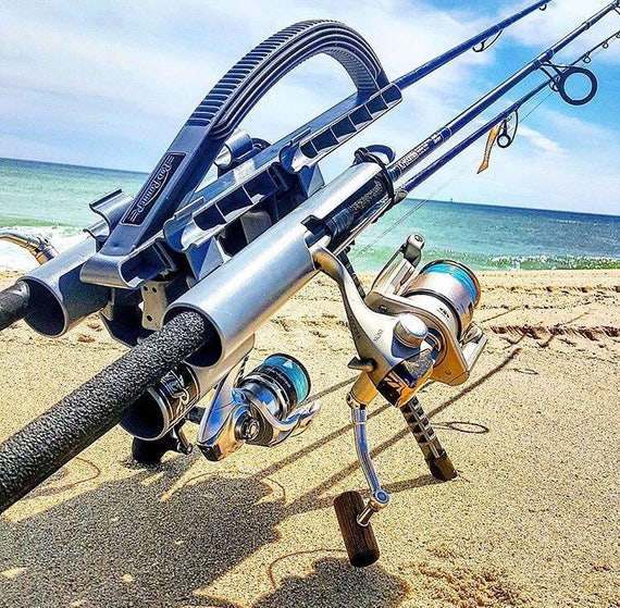ROD RUNNER EXPRESS: 3 Rod Fishing Rod Holder and Carrier Christmas Gift Camping, Surf, Pier and Boat! Makes It Easy! Father's Day Gift!