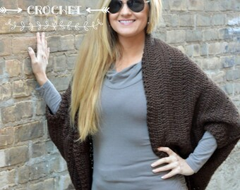 Oversized Crochet Shrug - Chocolate brown