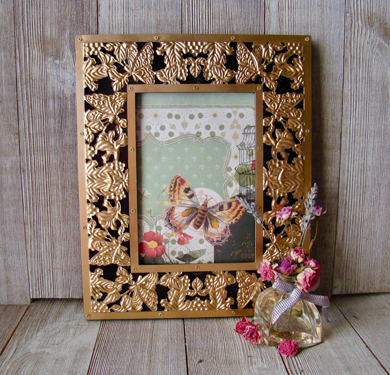 Unique 8 X 10 Gold Metal Butterfly Overlay Black Wood Frame
