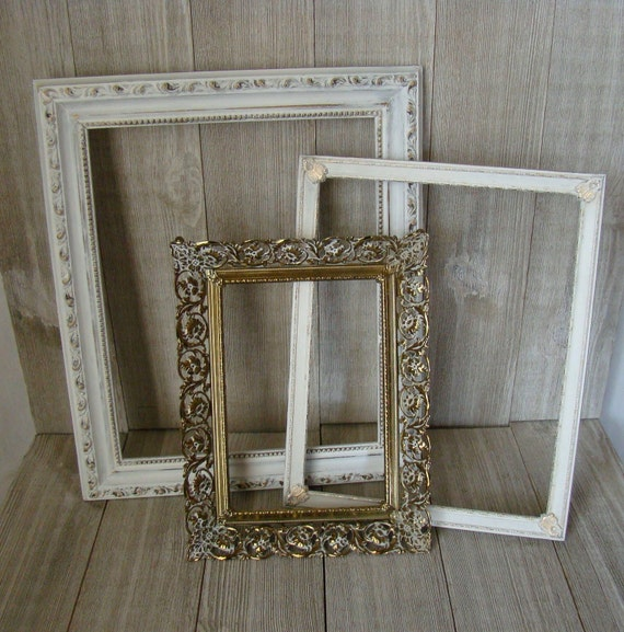 Set of 3 Vintage Picture Frames, Wedding frames, Ornate Picture ...