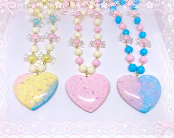 My Kawaii Valentine Red Faux Pearl and Pink Disco Bead Necklace with Pink Resin Heart Charm