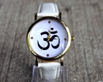 Om Yoga Leather Wrist Watch Teen Gift Woman Ideas Man WatchBirthday GiftsWrist