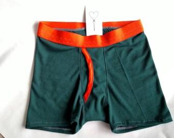 Men's Premium Green & Orange Boxer Briefs XS S M L XL XXL