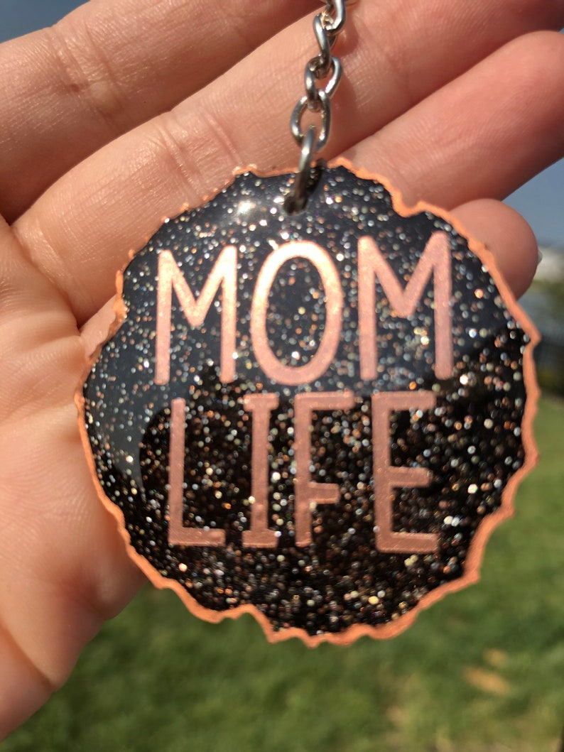 resin artwork key ring art keychain gift Mom life black and glitter and edged in rose gold keychain made of resin one of a kind