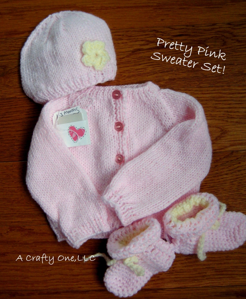 785ac8bc4 Handknit Baby Sweater Set Baby Girl Shower Gift Sweater Pink