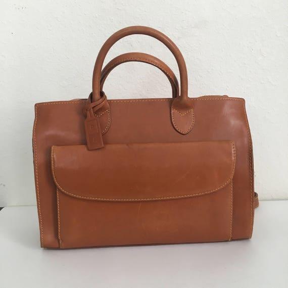 Vintage Perry Ellis Leather Top Handle Handbag