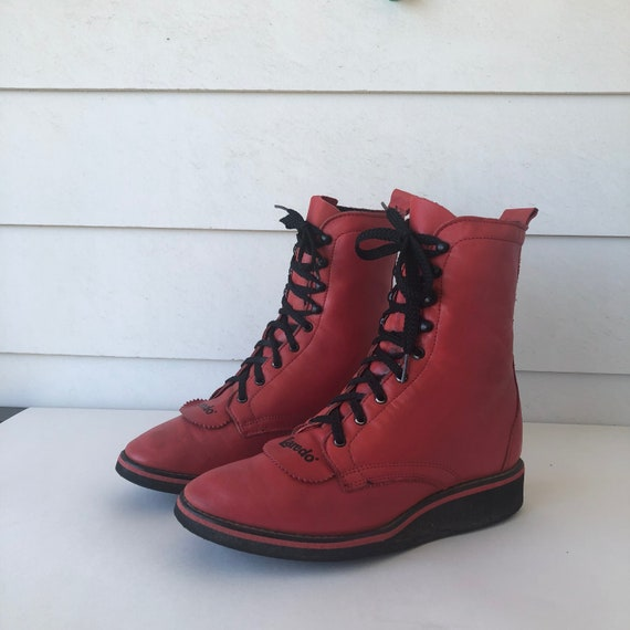 Sz 7.5 Women's Lace up Red LEATHER Laredo Ankle Bo