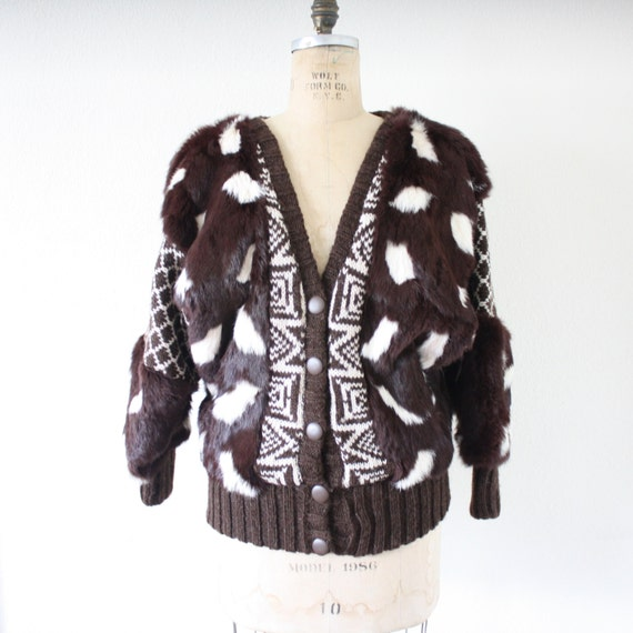 Vintage Batwing Geometric  Rabbit Fur Sweater