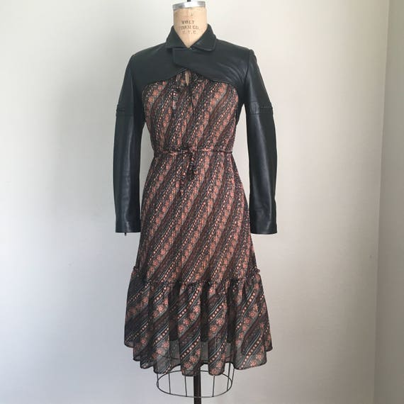 Vintage 70s Sheer Polyester Calico Dress
