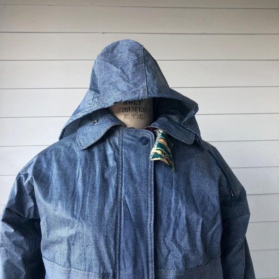 70s PVC Denim Look Hooded Rain Coat