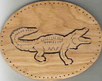 """ALLIGATOR #75, pine needle basket base, 5""""x7"""" oval"""