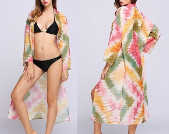 Long Maxi Beach Cover Up / Kimono Multi Print
