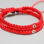 Protection Initial Bracelets, Good luck bracelets, Couples red string bracelet, Personalized Knotted bracelet, His Hers Knotted bracelet