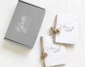 Letterpress Deckled Edge Off-White Handmade Paper Wedding Vow Books With BOX Perfect For Anniversaries, Renewals - Set of 2 Books